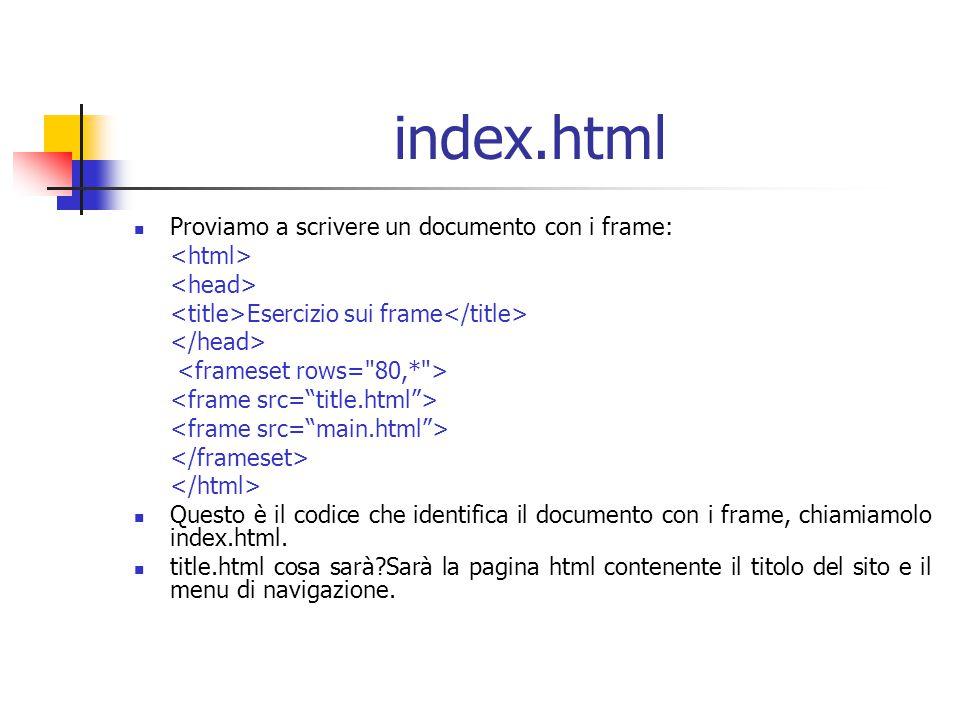 index.html Proviamo a scrivere un documento con i frame: Esercizio sui frame Questo è il codice che identifica il documento con i frame, chiamiamolo index.html.