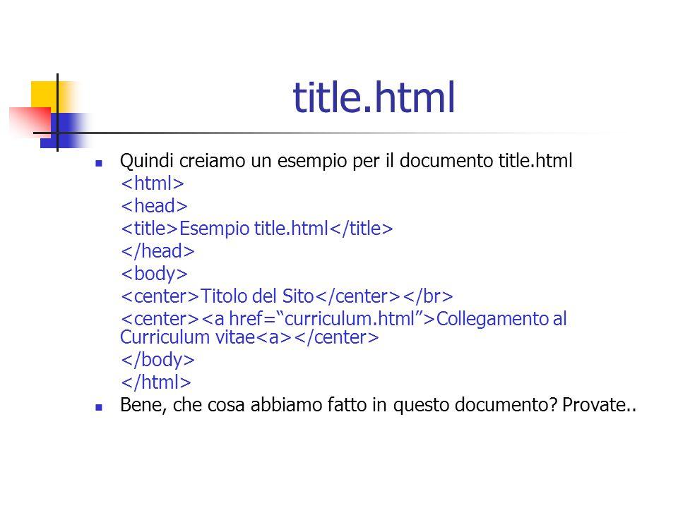 title.html Quindi creiamo un esempio per il documento title.html Esempio title.html Titolo del Sito Collegamento al Curriculum vitae Bene, che cosa abbiamo fatto in questo documento.
