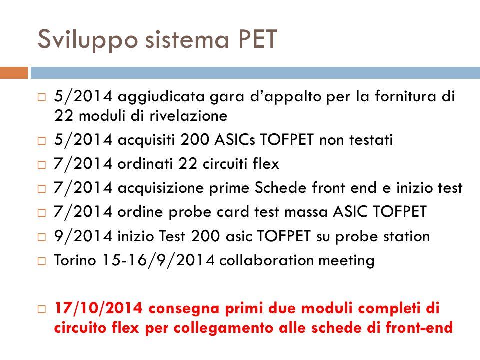 Sviluppo sistema PET  5/2014 aggiudicata gara d'appalto per la fornitura di 22 moduli di rivelazione  5/2014 acquisiti 200 ASICs TOFPET non testati