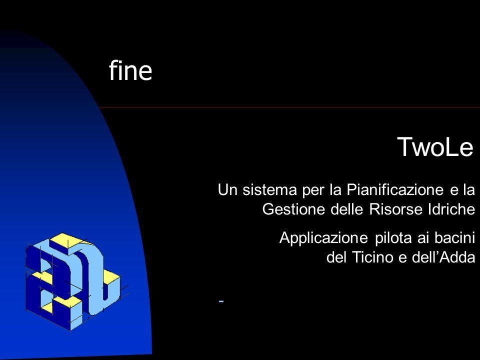 Un sistema per la Pianificazione e la Gestione delle Risorse Idriche Applicazione pilota ai bacini del Ticino e dell'Adda - TwoLe fine