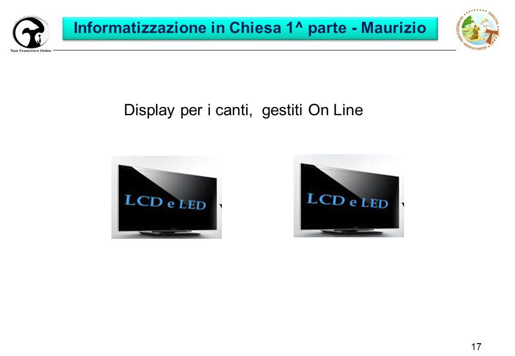 17 Display per i canti, gestiti On Line Informatizzazione in Chiesa 1^ parte - Maurizio