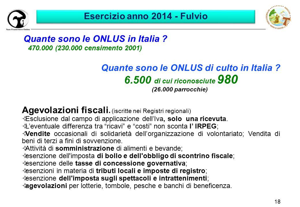 18 Quante sono le ONLUS in Italia ? 470.000 (230.000 censimento 2001) Quante sono le ONLUS di culto in Italia ? 6.500 di cui riconosciute 980 (26.000