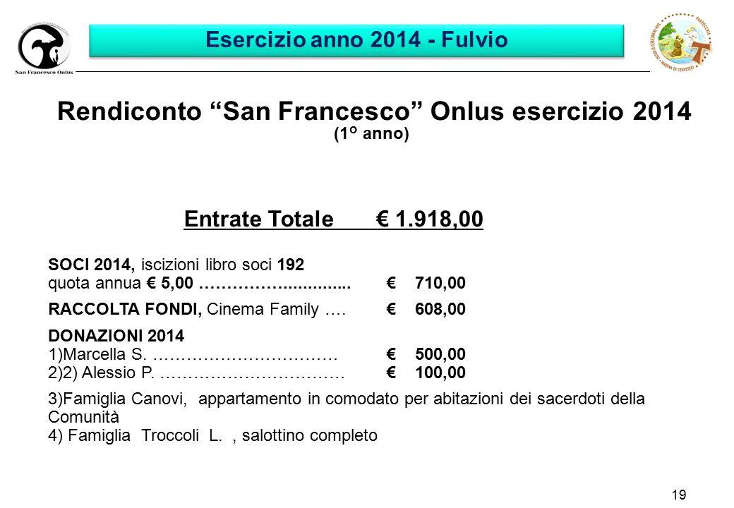 19 Rendiconto San Francesco Onlus esercizio 2014 (1° anno) Entrate Totale € 1.918,00 SOCI 2014, iscizioni libro soci 192 quota annua € 5,00 ……………..............€ 710,00 RACCOLTA FONDI, Cinema Family ….€ 608,00 DONAZIONI 2014 1)Marcella S.