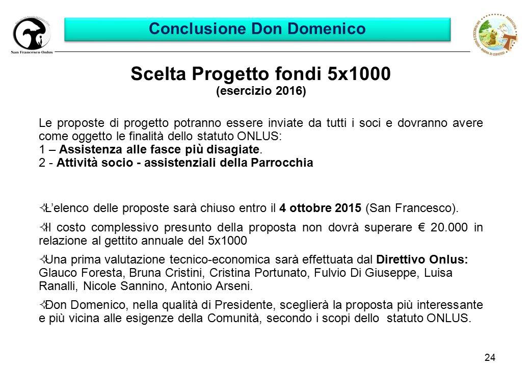 24 Scelta Progetto fondi 5x1000 (esercizio 2016) Le proposte di progetto potranno essere inviate da tutti i soci e dovranno avere come oggetto le finalità dello statuto ONLUS: 1 – Assistenza alle fasce più disagiate.