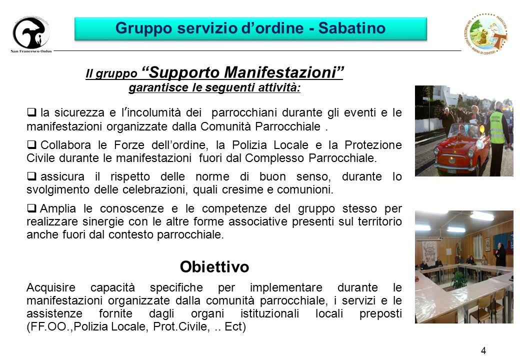 """4 Gruppo servizio d'ordine - Sabatino Il gruppo """"Supporto Manifestazioni"""" garantisce le seguenti attività:  la sicurezza e l'incolumità dei parrocchi"""