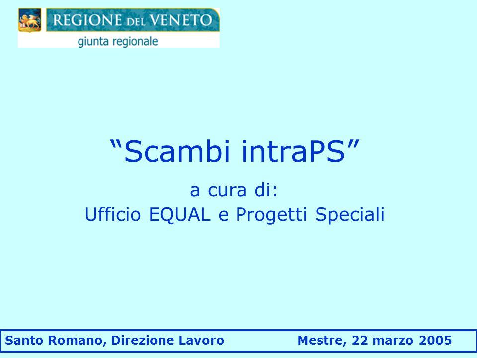 Scambi intraPS a cura di: Ufficio EQUAL e Progetti Speciali Santo Romano, Direzione Lavoro Mestre, 22 marzo 2005