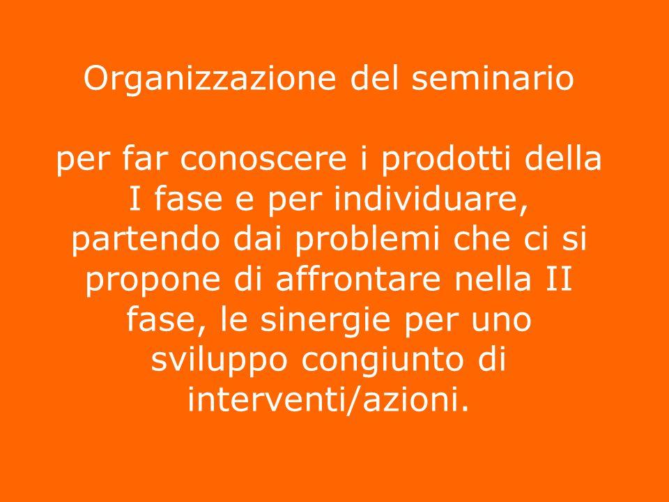 Organizzazione del seminario per per far conoscere i prodotti della I fase e per individuare, partendo dai problemi che ci si propone di affrontare ne