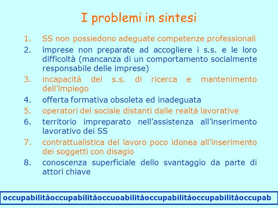 I problemi in sintesi occupabilitàoccupabilitàoccuoabilitàoccupabilitàoccupabilitàoccupab 1.SS non possiedono adeguate competenze professionali 2.imprese non preparate ad accogliere i s.s.