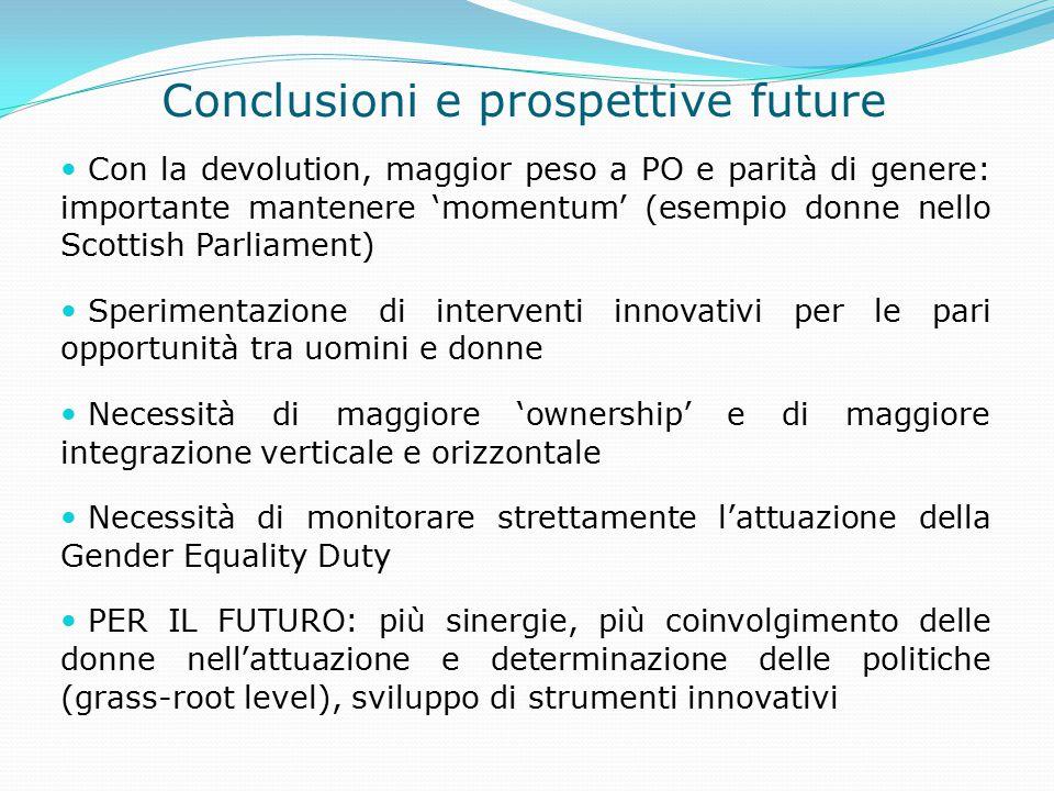 Conclusioni e prospettive future Con la devolution, maggior peso a PO e parità di genere: importante mantenere 'momentum' (esempio donne nello Scottis