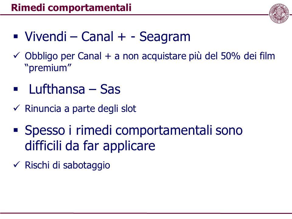 """Rimedi comportamentali  Vivendi – Canal + - Seagram Obbligo per Canal + a non acquistare più del 50% dei film """"premium""""  Lufthansa – Sas Rinuncia a"""