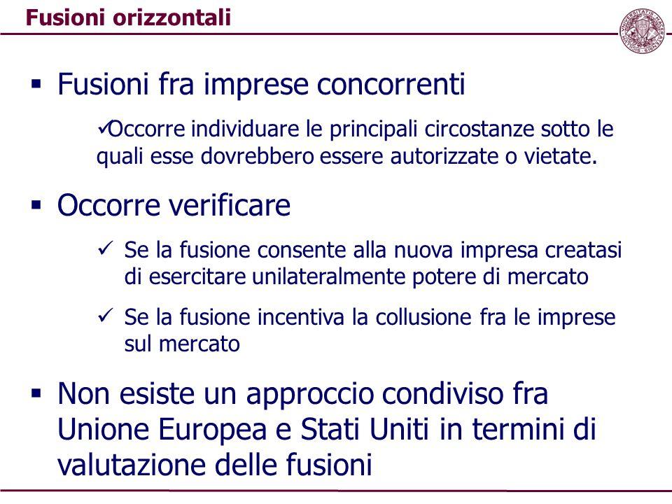 Fusioni orizzontali  Fusioni fra imprese concorrenti Occorre individuare le principali circostanze sotto le quali esse dovrebbero essere autorizzate