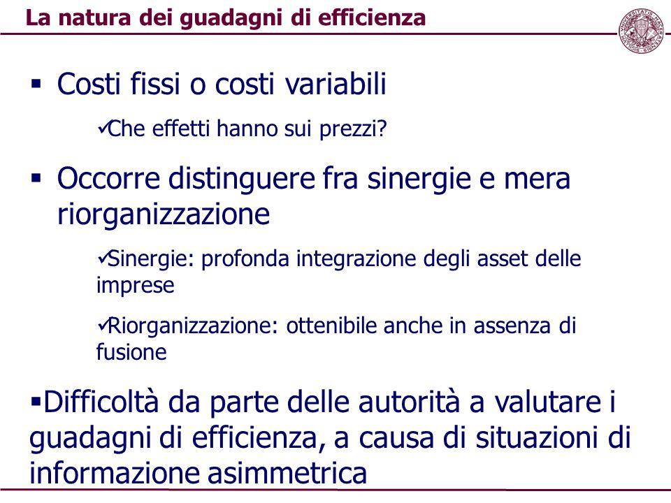 La natura dei guadagni di efficienza  Costi fissi o costi variabili Che effetti hanno sui prezzi?  Occorre distinguere fra sinergie e mera riorganiz