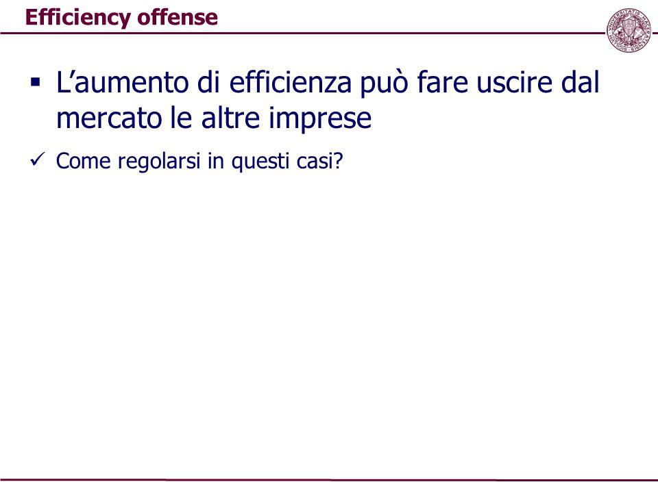 Efficiency offense  L'aumento di efficienza può fare uscire dal mercato le altre imprese Come regolarsi in questi casi?