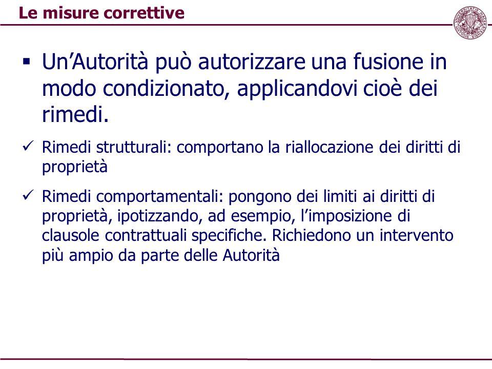 Le misure correttive  Un'Autorità può autorizzare una fusione in modo condizionato, applicandovi cioè dei rimedi. Rimedi strutturali: comportano la r