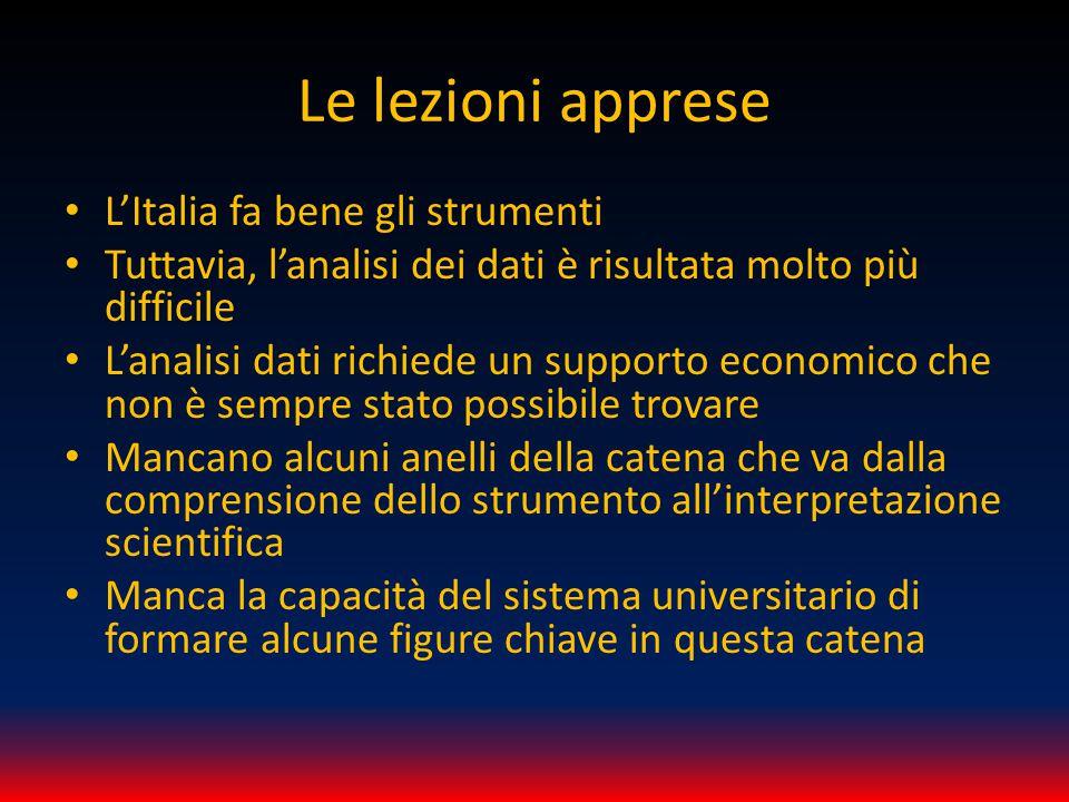 Le lezioni apprese L'Italia fa bene gli strumenti Tuttavia, l'analisi dei dati è risultata molto più difficile L'analisi dati richiede un supporto eco