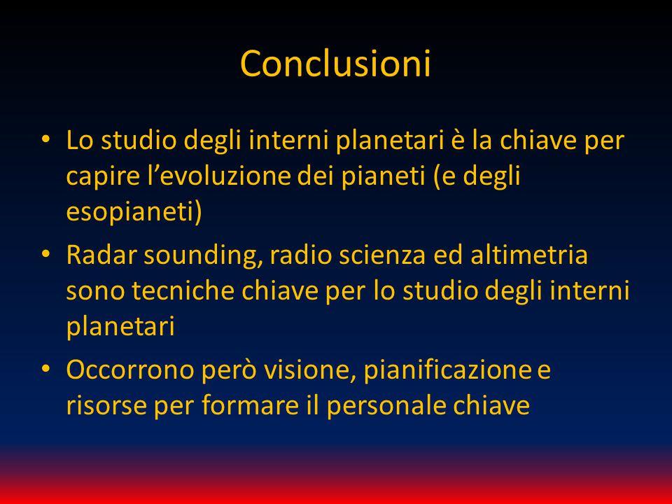 Conclusioni Lo studio degli interni planetari è la chiave per capire l'evoluzione dei pianeti (e degli esopianeti) Radar sounding, radio scienza ed altimetria sono tecniche chiave per lo studio degli interni planetari Occorrono però visione, pianificazione e risorse per formare il personale chiave