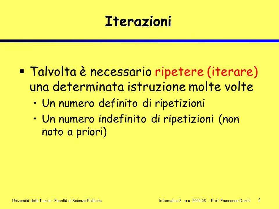 2 Università della Tuscia - Facoltà di Scienze Politiche.Informatica 2 - a.a. 2005-06 - Prof. Francesco Donini Iterazioni  Talvolta è necessario ripe