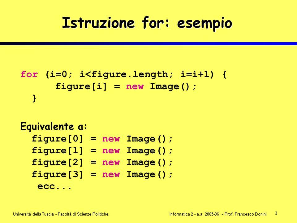 3 Università della Tuscia - Facoltà di Scienze Politiche.Informatica 2 - a.a. 2005-06 - Prof. Francesco Donini Istruzione for: esempio for (i=0; i<fig