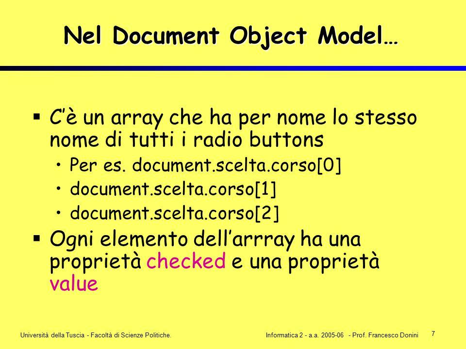 7 Università della Tuscia - Facoltà di Scienze Politiche.Informatica 2 - a.a. 2005-06 - Prof. Francesco Donini Nel Document Object Model…  C'è un arr
