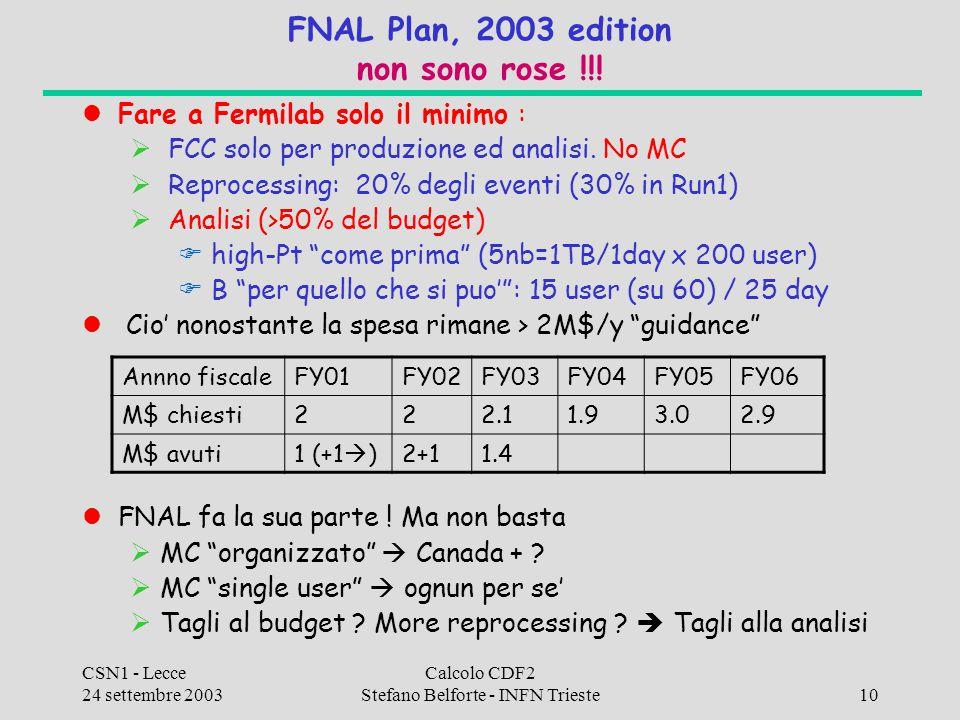 CSN1 - Lecce 24 settembre 2003 Calcolo CDF2 Stefano Belforte - INFN Trieste10 FNAL Plan, 2003 edition non sono rose !!! Fare a Fermilab solo il minimo