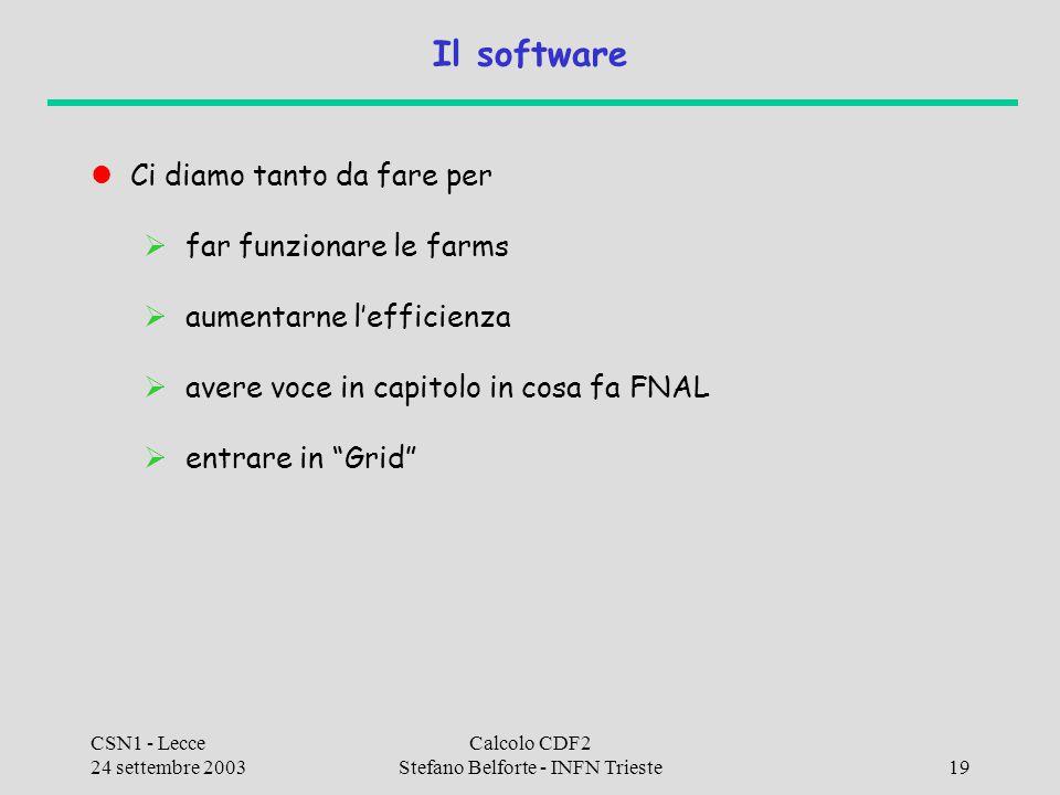 CSN1 - Lecce 24 settembre 2003 Calcolo CDF2 Stefano Belforte - INFN Trieste19 Il software Ci diamo tanto da fare per  far funzionare le farms  aumen