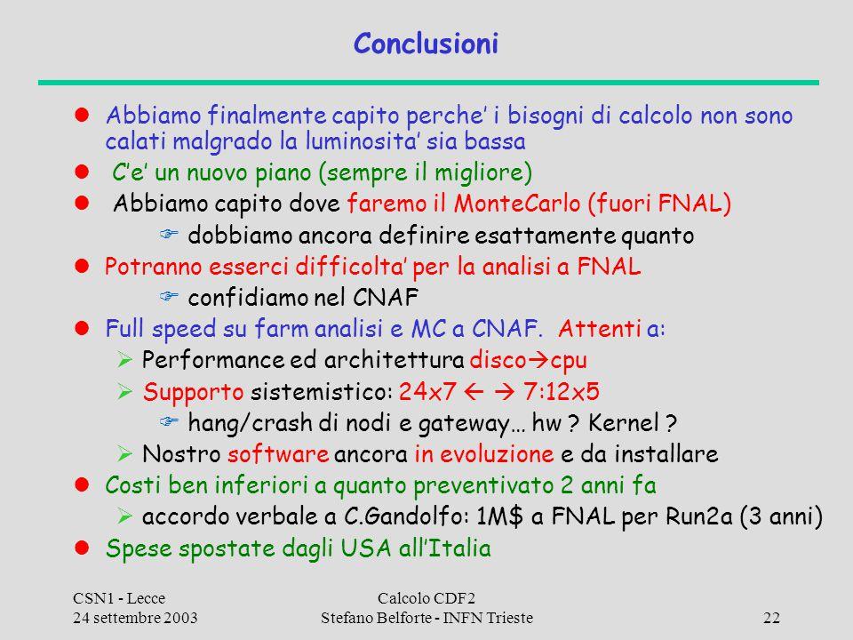 CSN1 - Lecce 24 settembre 2003 Calcolo CDF2 Stefano Belforte - INFN Trieste22 Conclusioni Abbiamo finalmente capito perche' i bisogni di calcolo non s