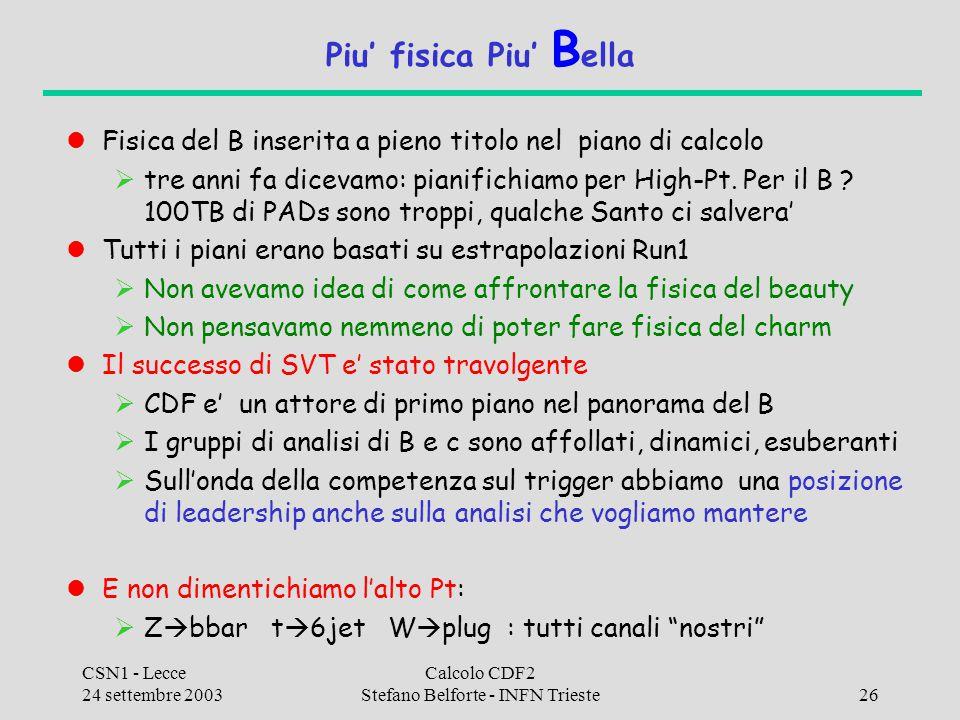 CSN1 - Lecce 24 settembre 2003 Calcolo CDF2 Stefano Belforte - INFN Trieste26 Piu' fisica Piu' B ella Fisica del B inserita a pieno titolo nel piano di calcolo  tre anni fa dicevamo: pianifichiamo per High-Pt.