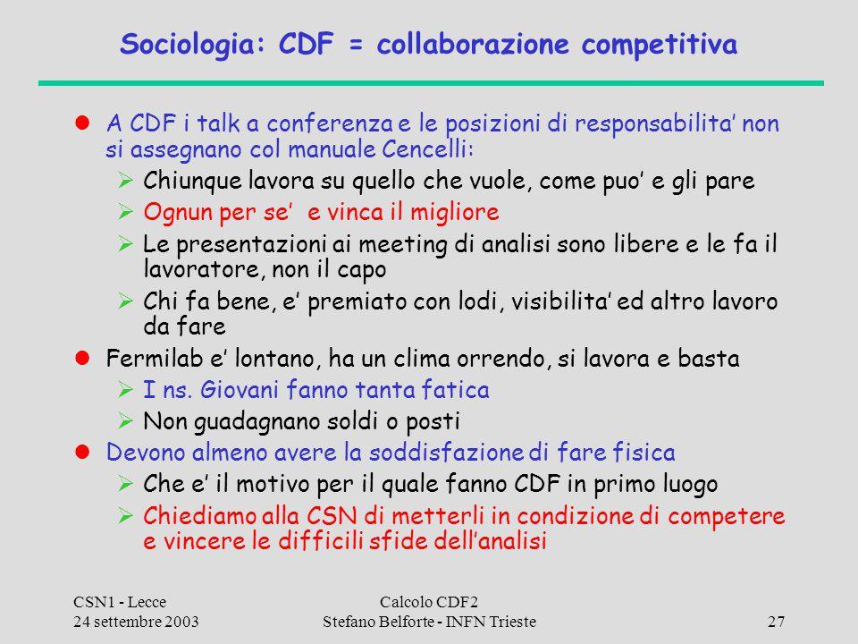 CSN1 - Lecce 24 settembre 2003 Calcolo CDF2 Stefano Belforte - INFN Trieste27 Sociologia: CDF = collaborazione competitiva A CDF i talk a conferenza e