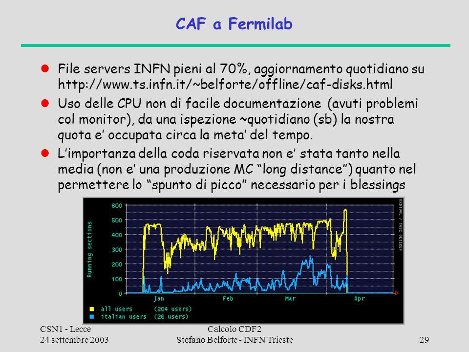 CSN1 - Lecce 24 settembre 2003 Calcolo CDF2 Stefano Belforte - INFN Trieste29 CAF a Fermilab File servers INFN pieni al 70%, aggiornamento quotidiano