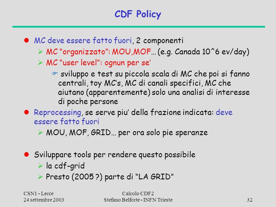 """CSN1 - Lecce 24 settembre 2003 Calcolo CDF2 Stefano Belforte - INFN Trieste32 CDF Policy MC deve essere fatto fuori, 2 componenti  MC """"organizzato"""":"""