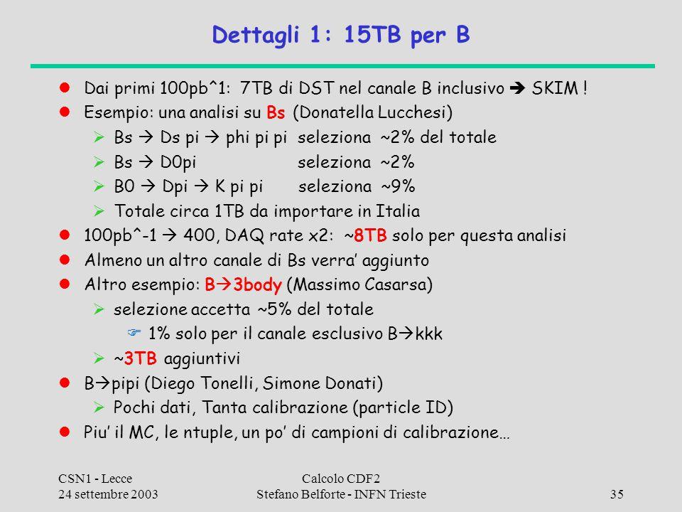 CSN1 - Lecce 24 settembre 2003 Calcolo CDF2 Stefano Belforte - INFN Trieste35 Dettagli 1: 15TB per B Dai primi 100pb^1: 7TB di DST nel canale B inclus