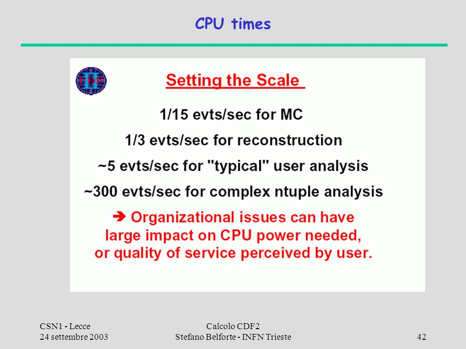 CSN1 - Lecce 24 settembre 2003 Calcolo CDF2 Stefano Belforte - INFN Trieste42 CPU times