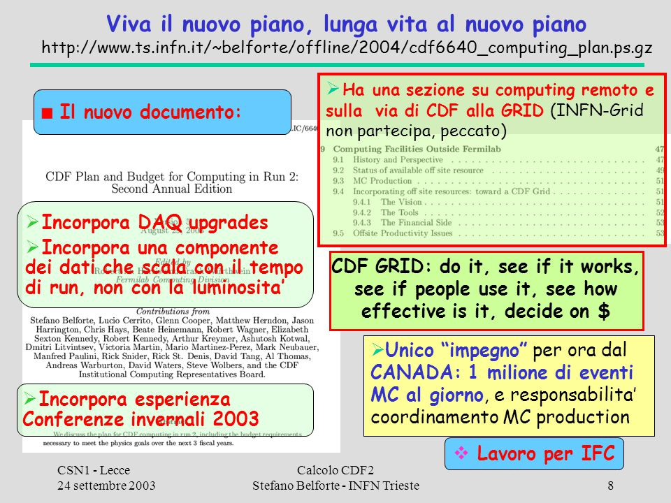 CSN1 - Lecce 24 settembre 2003 Calcolo CDF2 Stefano Belforte - INFN Trieste29 CAF a Fermilab File servers INFN pieni al 70%, aggiornamento quotidiano su http://www.ts.infn.it/~belforte/offline/caf-disks.html Uso delle CPU non di facile documentazione (avuti problemi col monitor), da una ispezione ~quotidiano (sb) la nostra quota e' occupata circa la meta' del tempo.