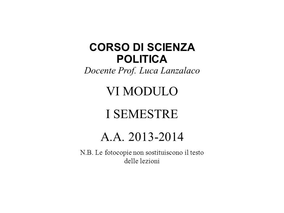 CORSO DI SCIENZA POLITICA Docente Prof. Luca Lanzalaco VI MODULO I SEMESTRE A.A.