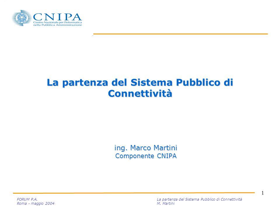 1 FORUM P.A. La partenza del Sistema Pubblico di Connettività Roma - maggio 2004M.