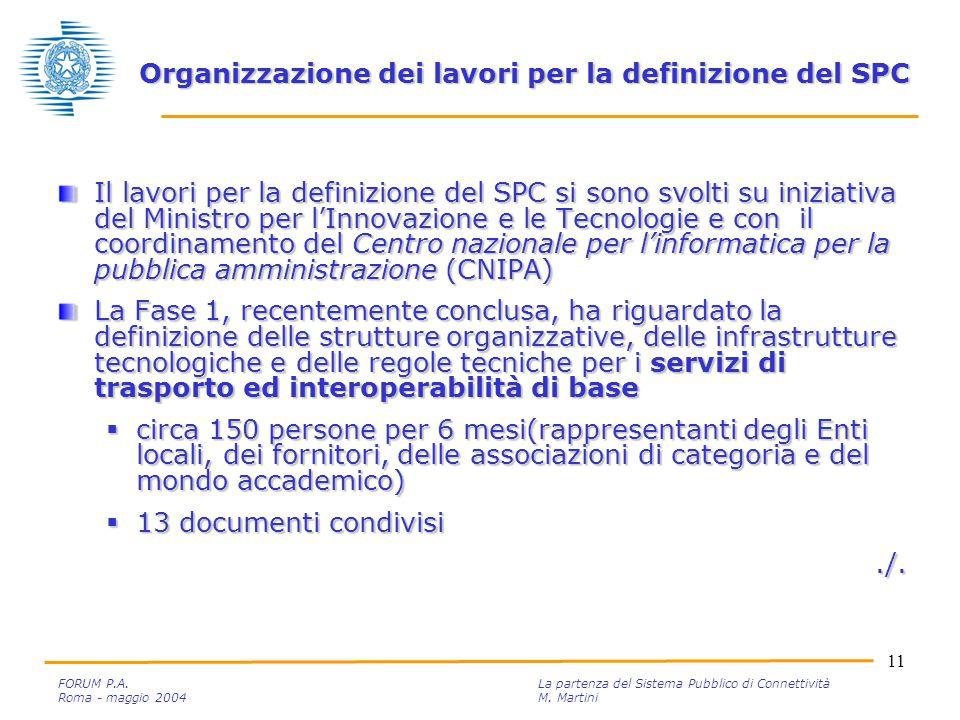 11 FORUM P.A. La partenza del Sistema Pubblico di Connettività Roma - maggio 2004M.