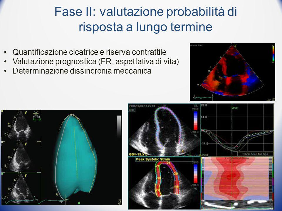 Fase II: valutazione probabilità di risposta a lungo termine Quantificazione cicatrice e riserva contrattile Valutazione prognostica (FR, aspettativa di vita) Determinazione dissincronia meccanica