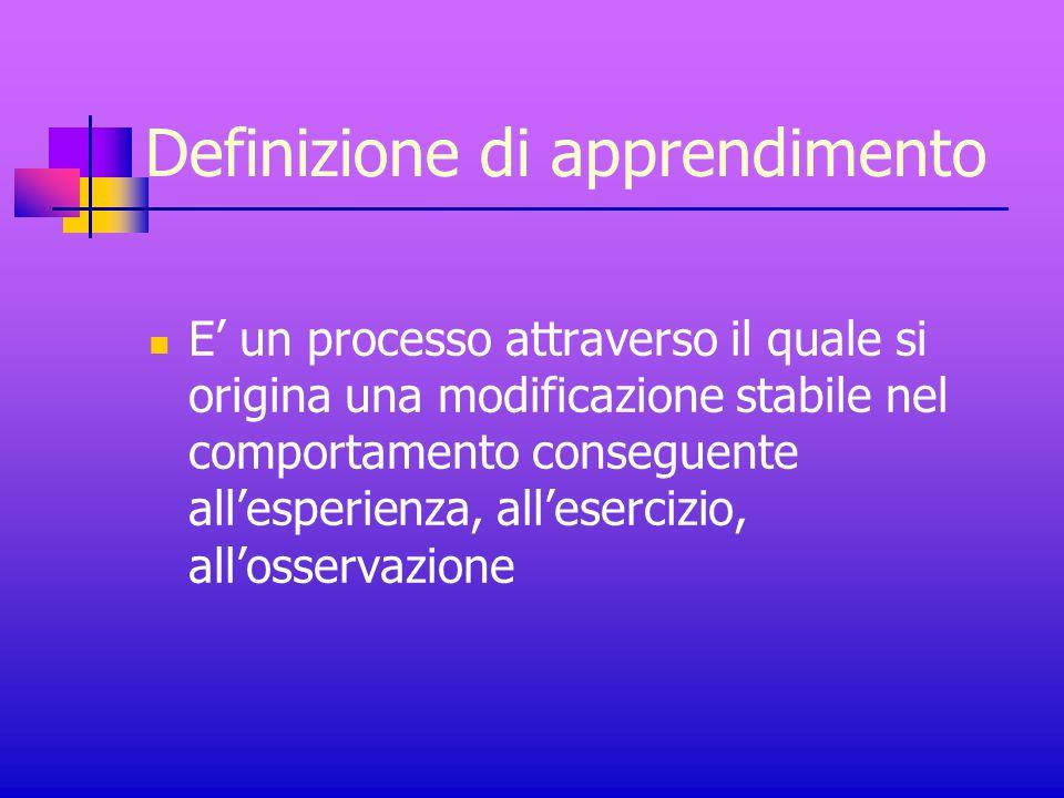 Definizione di apprendimento E' un processo attraverso il quale si origina una modificazione stabile nel comportamento conseguente all'esperienza, all'esercizio, all'osservazione