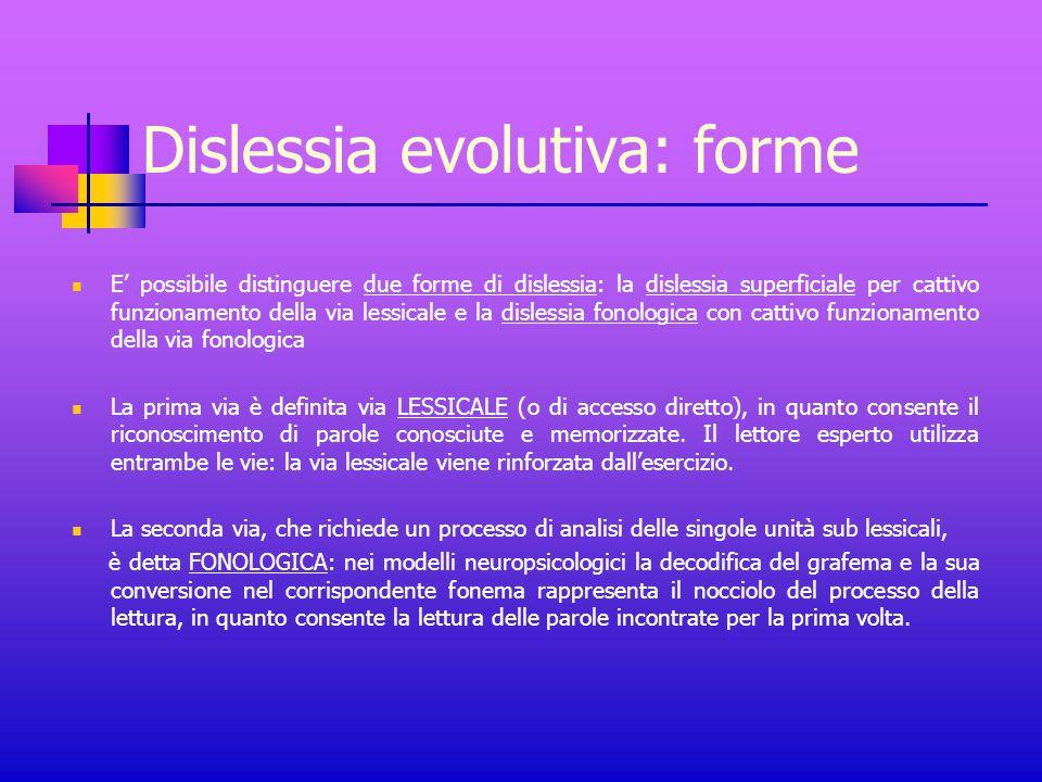 Dislessia evolutiva: forme E' possibile distinguere due forme di dislessia: la dislessia superficiale per cattivo funzionamento della via lessicale e