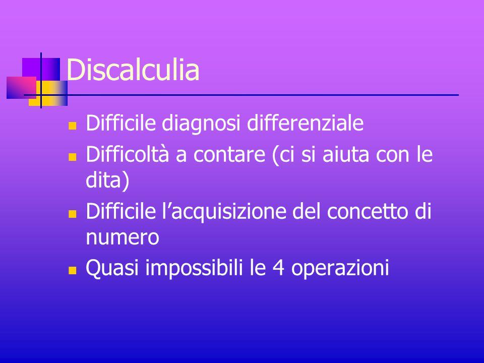 Discalculia Difficile diagnosi differenziale Difficoltà a contare (ci si aiuta con le dita) Difficile l'acquisizione del concetto di numero Quasi impossibili le 4 operazioni