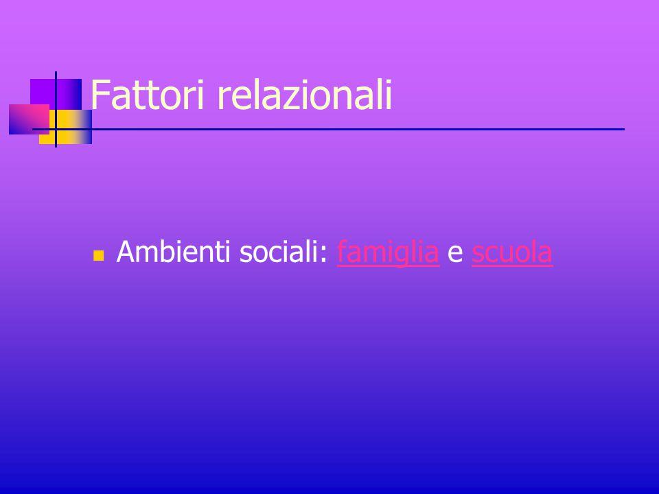 Fattori relazionali Ambienti sociali: famiglia e scuolafamigliascuola