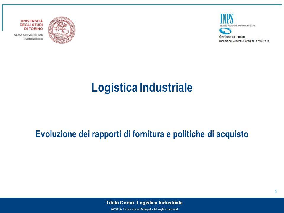 © 2014 Francesco Rabajoli - All right reserved 1 Titolo Corso: Logistica Industriale Logistica Industriale Evoluzione dei rapporti di fornitura e poli
