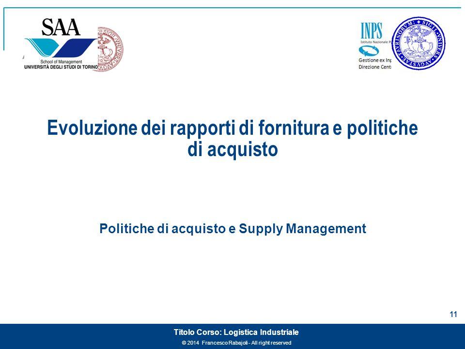 © 2014 Francesco Rabajoli - All right reserved 11 Titolo Corso: Logistica Industriale Evoluzione dei rapporti di fornitura e politiche di acquisto Pol