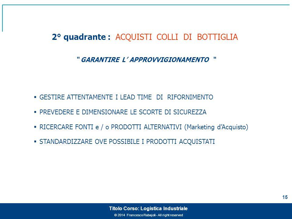 """© 2014 Francesco Rabajoli - All right reserved 15 Titolo Corso: Logistica Industriale 2° quadrante : ACQUISTI COLLI DI BOTTIGLIA """" GARANTIRE L' APPROV"""