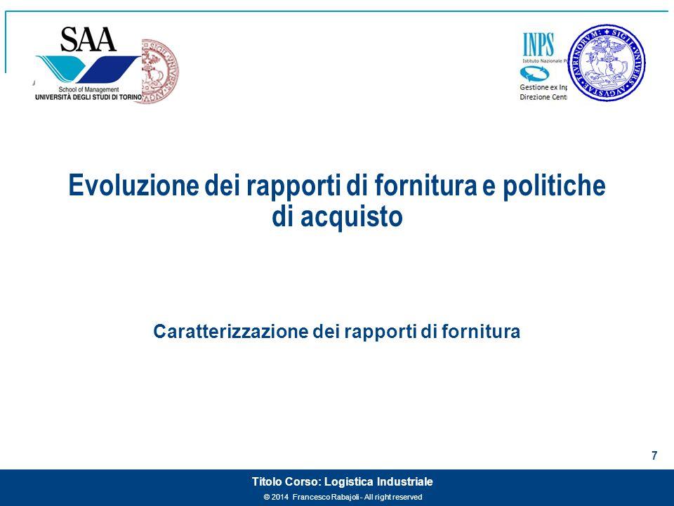 © 2014 Francesco Rabajoli - All right reserved 7 Titolo Corso: Logistica Industriale Evoluzione dei rapporti di fornitura e politiche di acquisto Cara