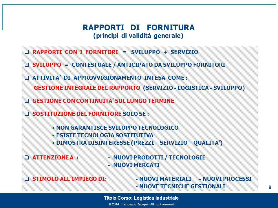 © 2014 Francesco Rabajoli - All right reserved 9 Titolo Corso: Logistica Industriale RAPPORTI DI FORNITURA (principi di validità generale)  RAPPORTI