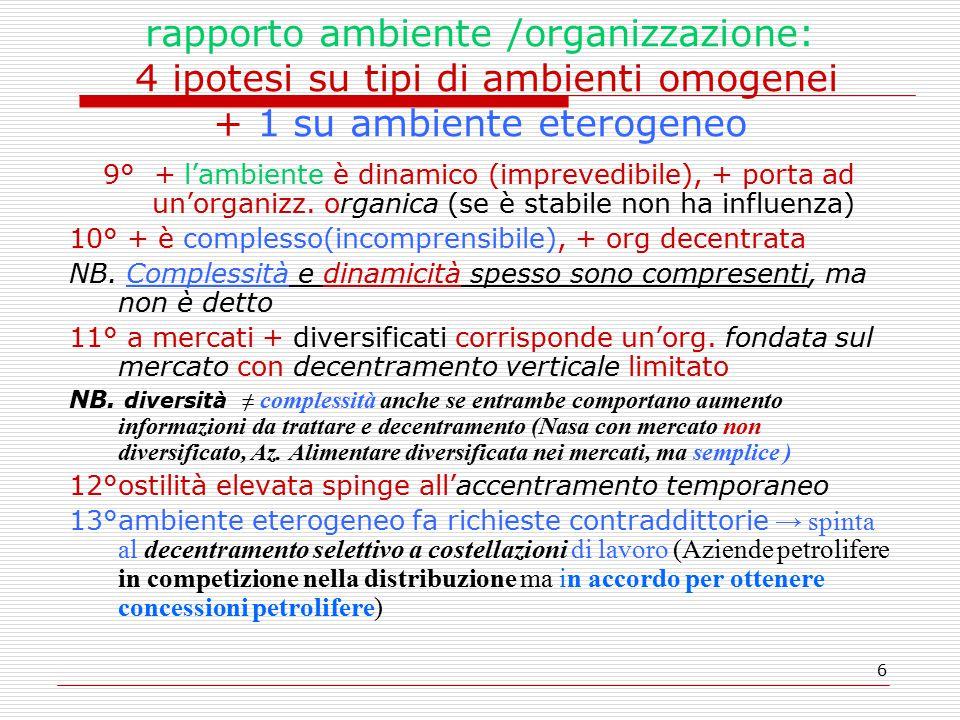 6 rapporto ambiente /organizzazione: 4 ipotesi su tipi di ambienti omogenei + 1 su ambiente eterogeneo 9° + l'ambiente è dinamico (imprevedibile), + porta ad un'organizz.