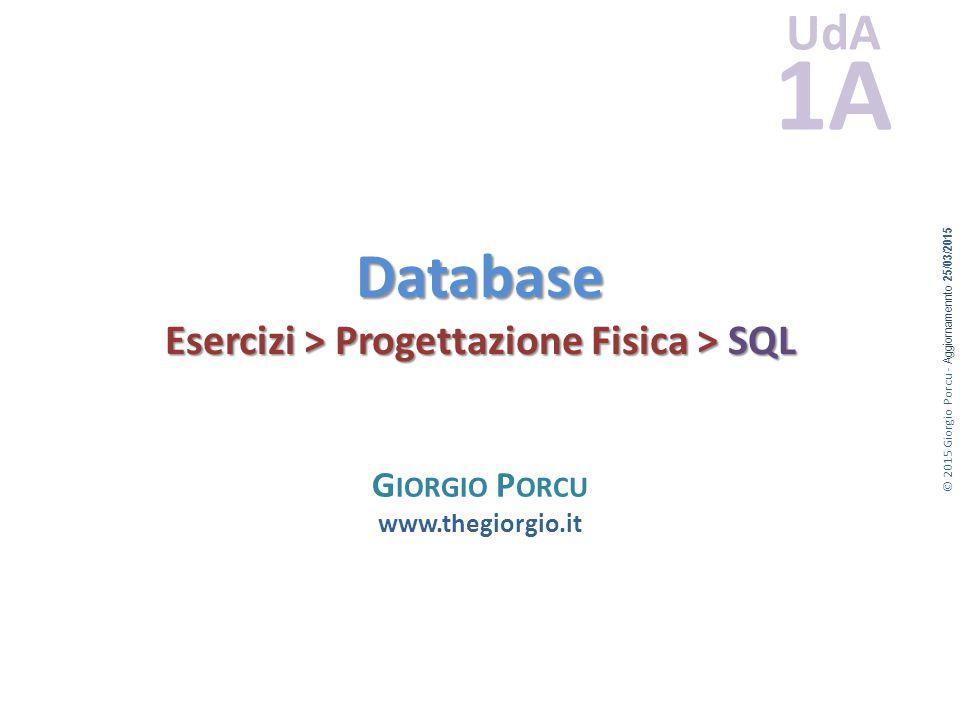 © 2015 Giorgio Porcu - Aggiornamennto 25/03/2015 UdA 1A Database Esercizi > Progettazione Fisica > SQL G IORGIO P ORCU www.thegiorgio.it