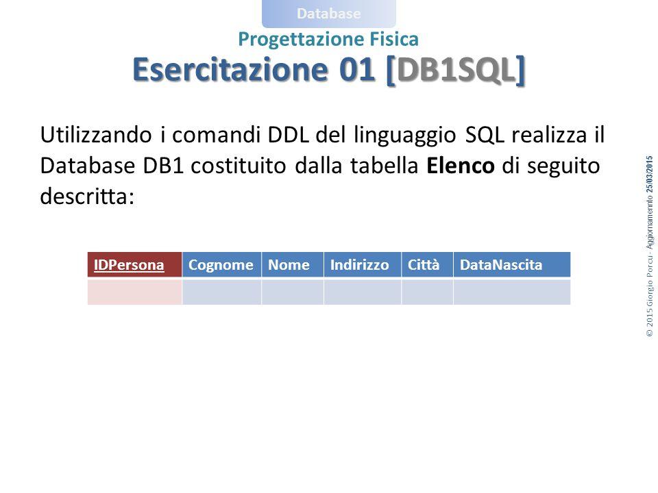 © 2015 Giorgio Porcu - Aggiornamennto 25/03/2015 Database Progettazione Fisica Esercitazione 01 [DB1SQL] Utilizzando i comandi DDL del linguaggio SQL realizza il Database DB1 costituito dalla tabella Elenco di seguito descritta: IDPersonaCognomeNomeIndirizzoCittàDataNascita
