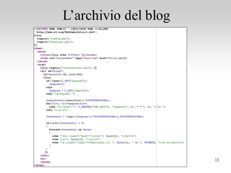 11 L'archivio del blog